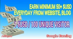 Google earning AdSense - Earn from website, blog. Minimum 50+ $USD every day. 1 $ USD / 100 unique visitor.